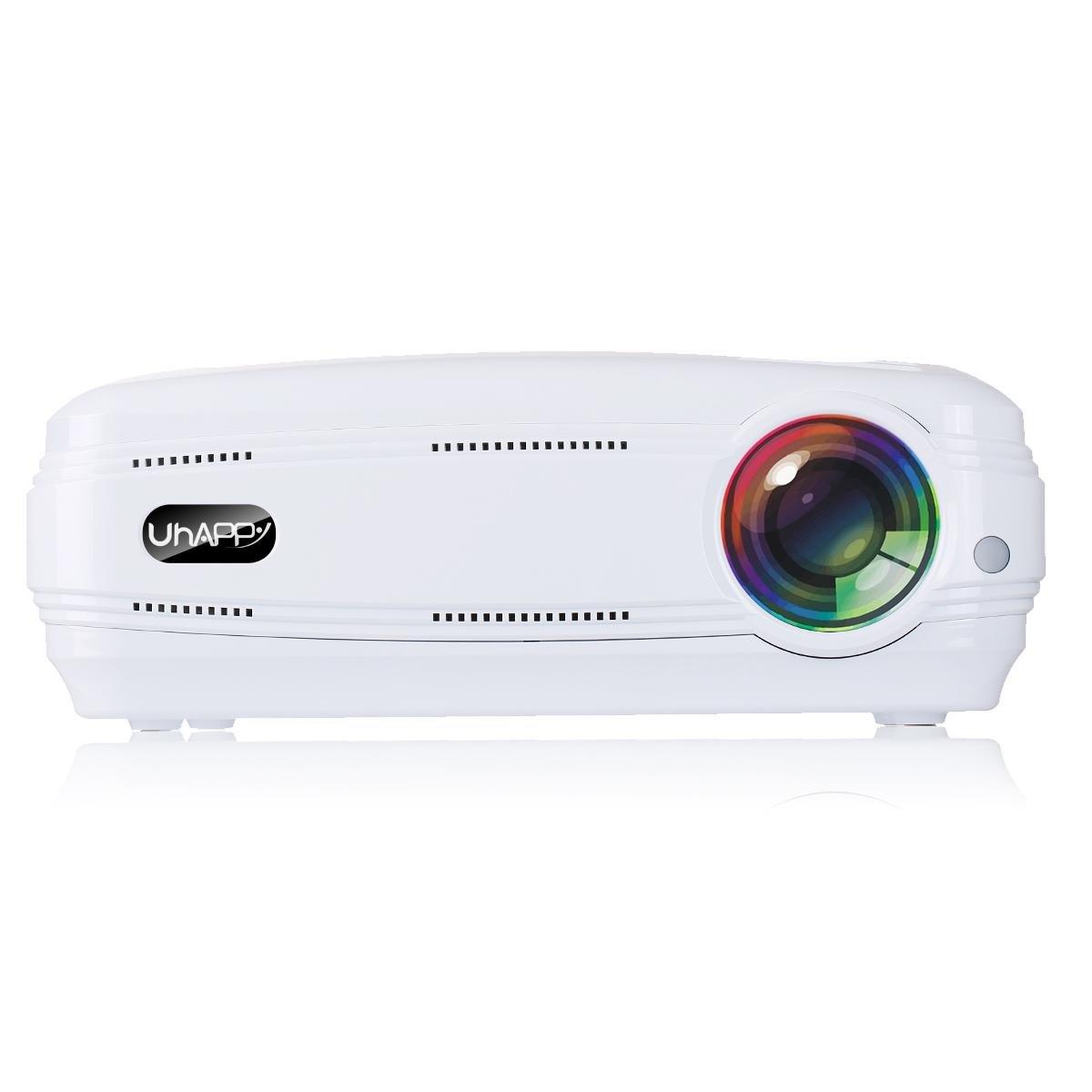 UHAPPY Casa HD proyector 3200 lúmenes 1080P 20000 horas de vida ...