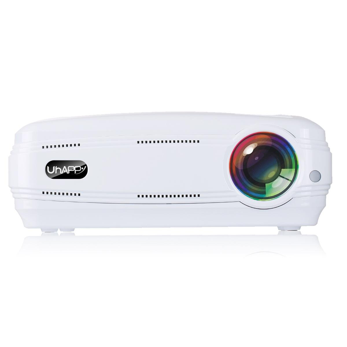 GAOHAILONG UHAPPY Home HD projector 3200 lumens 1080P 20000 hours LED life LED Office Slide projector, white by GAOHAILONG