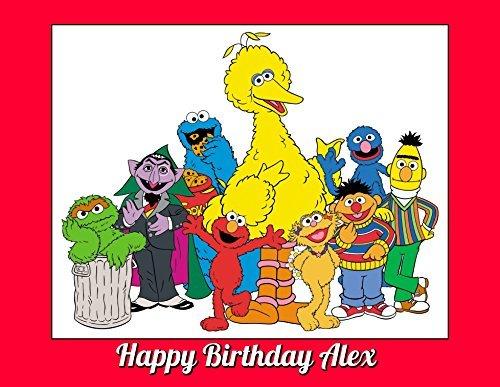 Sesame Street Big Bird Elmo Edible Image Photo Cake Topper Sheet Personalized Custom Customized Birthday - 1/4 Sheet - (Sesame Street Cupcake Holder)