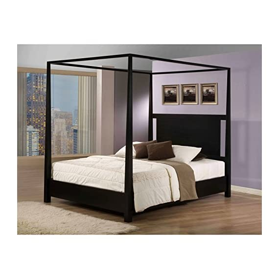Napa Canopy Modern Full Bed - Add a contemporary touch to your bedroom with this full-size canopy bed from Napa. A black stained finish and tapered posts complete this stylish bed. Made of solid hardwood, this classic black stained canopy bed is sure to make a statement in your bedroom. - bedroom-furniture, bedroom, bed-frames - 51Fx GAiuLL. SS570  -