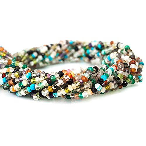 Faceted Strand - 3-3.5mm Multi Gemstone Faceted Rondelle Beads 13 inch 150 piece