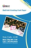 Half Folding Greeting Card Paper - 5.5x8.5 When Fold 68lb - 50Sheets Matt Inkjet Paper with Envelop Uinkit