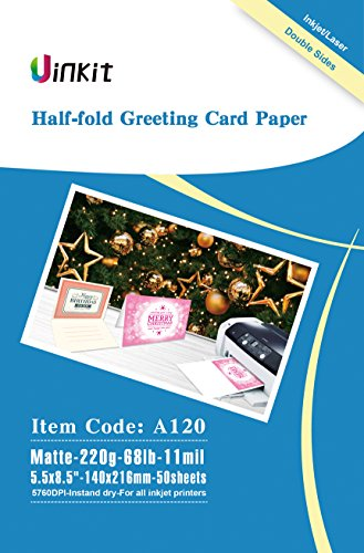 Half Folding Greeting Card Paper - 5.5x8.5 When Fold 68lb - 50Sheets Matt Inkjet Paper with Envelop Uinkit ()
