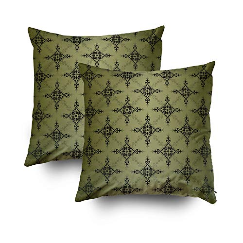 Shorping Zippered Pillow Covers Pillowcases 18X18Inch 2 Pack Olive Green and Black Damask Pattern Decorative Throw Pillow Cover Pillow Cases Cushion Cover for Home Sofa Bedding - Damask Olive Bed Cover