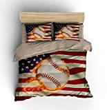 Abstract American Flag Baseball Cotton Microfiber 3pc 80''x90'' Bedding Quilt Duvet Cover Sets 2 Pillow Cases Full Size
