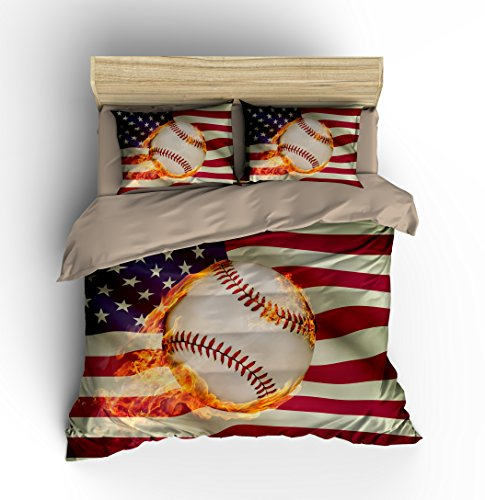 "Abstract American Flag Baseball Cotton Microfiber 3pc 90""x90"" Bedding Quilt Duvet Cover Sets 2 Pillow Cases Queen Size"