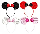 RufNTop Mickey and Minnie Mouse Sequins Ears Headband for Boys and Girls Costume Accessory for Birthday Party or Celebrations(MIX Colors Sequin set of 12)