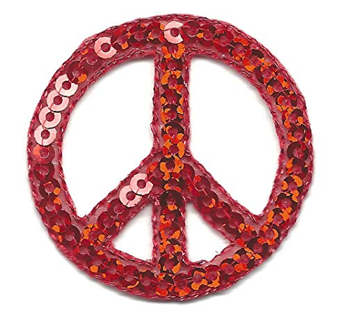 PINZ- Peace Sign Red Sequins Patriotic 50's Iron On Embroidered - Peace Sequin Sign