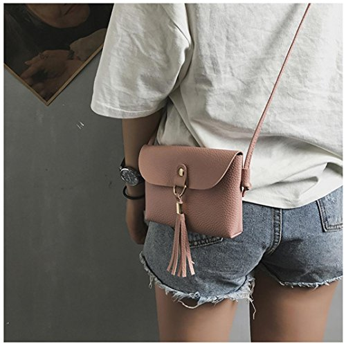 Shoulder Bags Handbag Messenger Fashion Pink Bag Brown Crossbody Mini Small Vintage Tassel Seaintheson Purse Shoulder Clearance Leather Shoulder Bags Bag 4w7qFr4