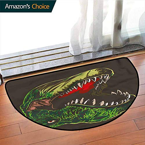 DESPKONMATS Dinosaur Anti Slip Semi-Circular Mats, Aggressive Wild T Rex Indoor Floor Area Mat, Phthalate Free, Rugs for Office Stand Up Desk, Half Circle-W47.2 x R23.6 INCH