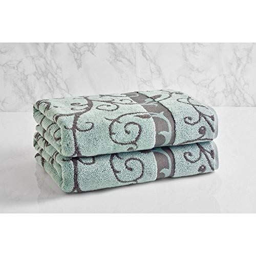 Stone//Charcoal LOFT by Loftex 91031 Como Wave Bath Towel 30 x 54
