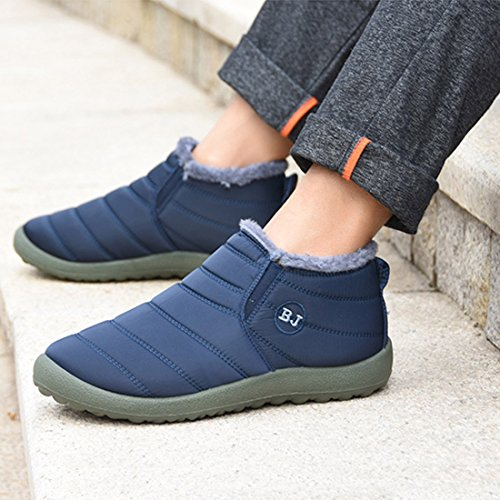 O & N Heren Winter Warm Waterdicht Snowboots Anti Slip Ankel Laarzen Outdoor Schoenen Blauw