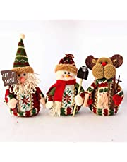 Sepanda Christmas Decor Dolls, 3pcs Plush Standing Toys Santa Claus Snowman Reindeer Holiday Ornaments for Table Fireplace Indoor Home Decoration Xmas Party Gift Idea