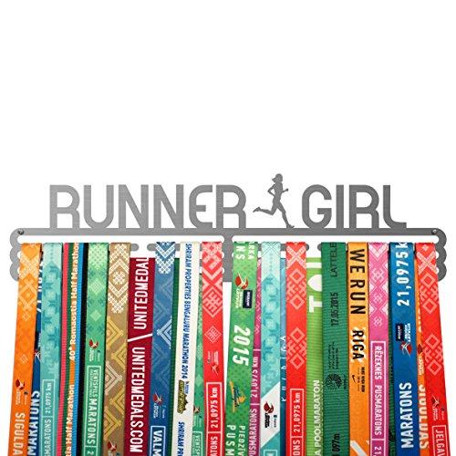 (United Medals Running Medal Hanger Runner Girl - Stainless Steel Holder)