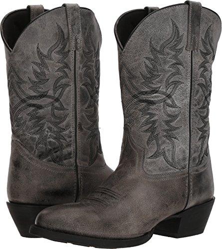 (Laredo Men's Harding Grey Waxy Leather Cowboy Boot Medium Toe Grey 9.5 D)