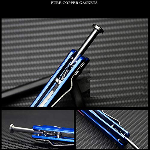Microtech Folding Tactical Trainer Practice Butterfly Knife Titanium Plated Steel Zinc Alloy Handle Handle Bearings Blunt Dull Blade Unsharpened Tool for Safety Improving Skills (Blue) by Microtech (Image #3)
