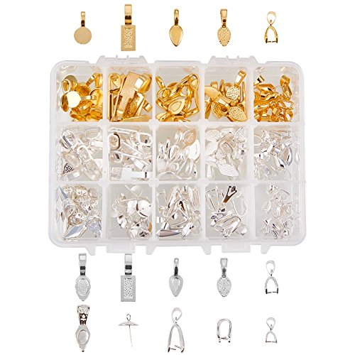 PH PandaHall 150 Pieces 15 Style Pendant Bails Spoon Glue-on Flat Pad Bails for Earring Bails or Scrabble and Glass Pendants Charms Connector Jewelry (Gold & Silver)