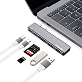 Elando USB C Hub, Aluminum Type-C Hub Adapter Dongle for MacBook Pro 13' and 15' 2016/2017, 40Gbps Thunderbolt 3, USB-C Power Delivery, SD and Micro SD/TF Card Reader, 2 USB 3.0 Ports, Grey