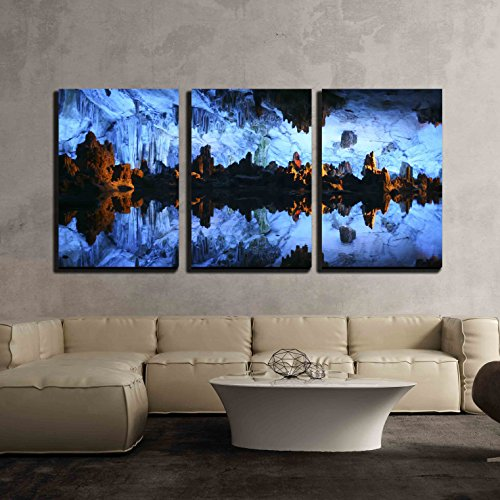 - wall26 - 3 Piece Canvas Wall Art - Underground Lake in The Reed Flute Cave Lu Di Yan Near Guilin in China - Modern Home Decor Stretched and Framed Ready to Hang - 24