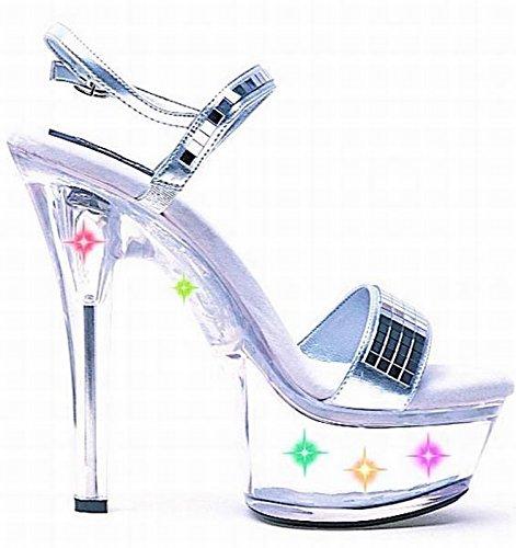 Scarpa Da Donna Con Tacco A Spillo Da 6 Pollici, Sandalo Con Luci Multicolore (argento / Trasparente; 9)