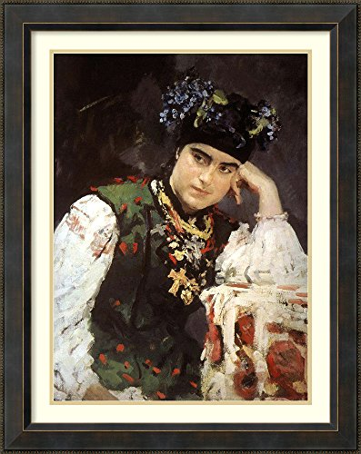 [Framed Art Print 'Portrait of Woman in Traditional Outfit, 1889' by Valentin Aleksandrovic Serov] (Traditional Russian Outfits)