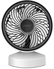 DOUHE USB Fan MINI Fan Desk Fan Small Fan Portable Desk Fan 7 Turbo Leaves 22 ° Tiltable with Handle Energy Efficient for Office, Home, CAMPING, Car UWS (White)