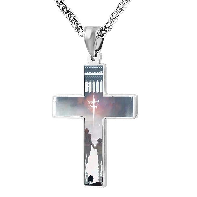 65c1441e96b Amazon.com: A Plague Tale-Innocence 3D Print Jewelry Zinc Alloy Religious Cross  Pendant Necklace Men Women: Clothing