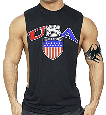 USA Crest T-Shirt Bodybuilding Tank Top america US