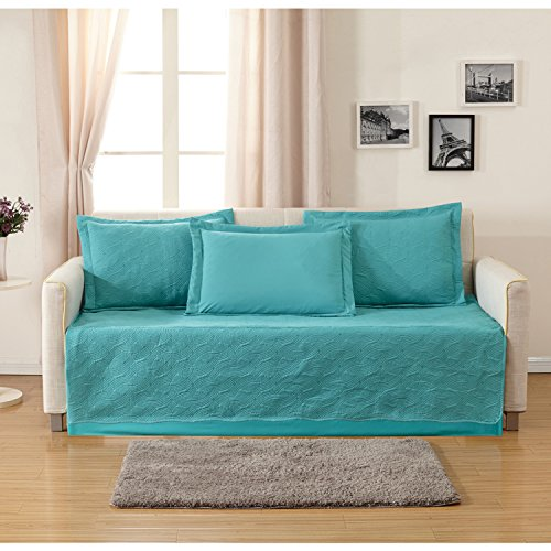 HollyHOME Sofa Furniture Protector Collection 5-Piece Daybed Set, Teal