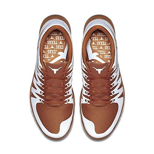 Zapatillas de entrenamiento Nike Nike Nike Free Trainer 5.0 V6 AMP (Texas Longhorns) blanco / gris ceniza claro / Desert Orange (12 M US, naranja)