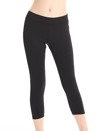 8b7380e578fe4d LIQQY Women's Soft Mid Rise Yoga Leggings Solid Plain Activewear Pants  (Small, Capri-