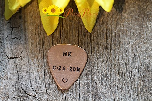 Copper Guitar Pick, Anniversary Gifts, Hand Stamped Pick, Engraved Guitar Pick, Retirement Gifts, Personal Guitar Pick, Initials Guitar Pick