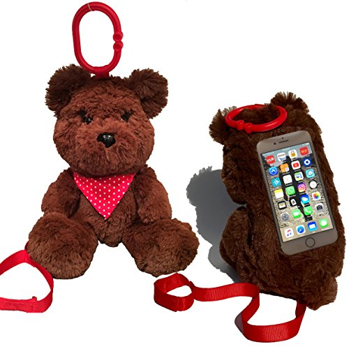 Price comparison product image Teddy Bear iPhone Case for Kids - Super Plush n Cuddly - Fits iPhone 6S, 7, 7 Plus - Galaxy S7, S6, Edge, Note – Secure Loop n Strap - Weighted Bean Bags for Stability - Full Access Touch Screen