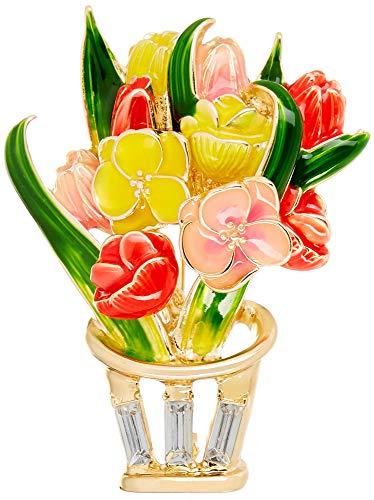 Napier Gold Tone Brooch - Napier Boxed Enamel Spring Flower Bouquet Pin Gold Tone Multi