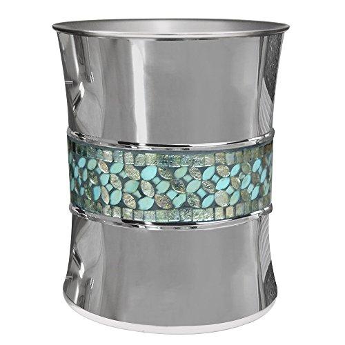 nu steel SF8H Sea Foam Collection Wastebasket Small Square Vintage Trash Can for Bathroom, Bedroom, Dorm, College, 9.2