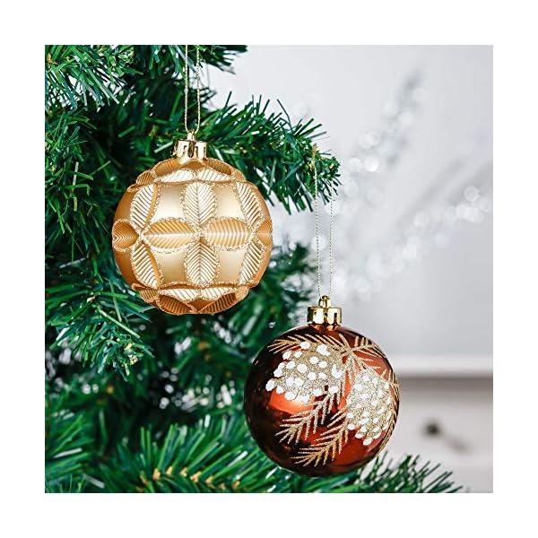 Valery Madelyn Palle di Natale 16 Pezzi 8cm Palline di Natale, Rame da Bosco e Oro Infrangibile Palla di Natale Ornamenti Decorazione per la Decorazione Dell'Albero di Natale 4 spesavip