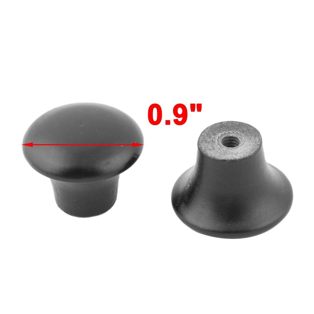 uxcell Home Round Dressing Table Wardrobe Pull Handle Grip Knob 18mm x 23mm 8pcs Black