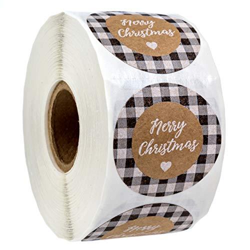 Black and White Buffalo Plaid Merry Christmas Stickers/500 Christmas Tags