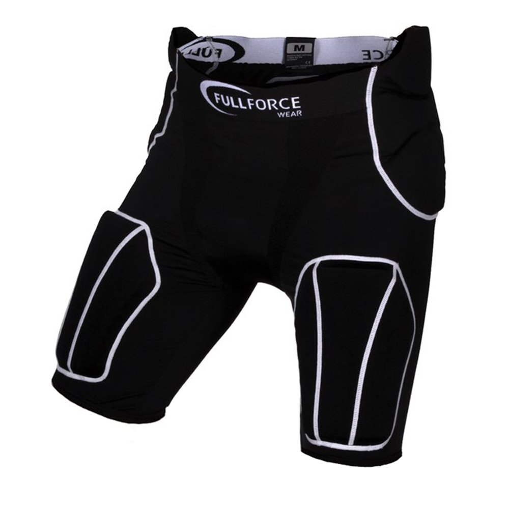 Full Force American Football Herren Hose 5 Pocket mit 5 eingenähten Pads, Schwarz, Gr. S-3XL Full Force Wear