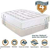 "YESINDEED . Pillowtop Mattress Pad Cooling Cover, Topper with Fitted Skirt, Snow Down Alternative Fill, 8-21"" Deep Pocket"