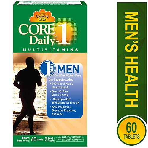 Core Daily-1, 6-in-1 Vegetarian Mens Multivitamins with Coenzymated B Vitamins for Energy, Immune Support, Over 30 Raw Whole Foods, 60 Tablets