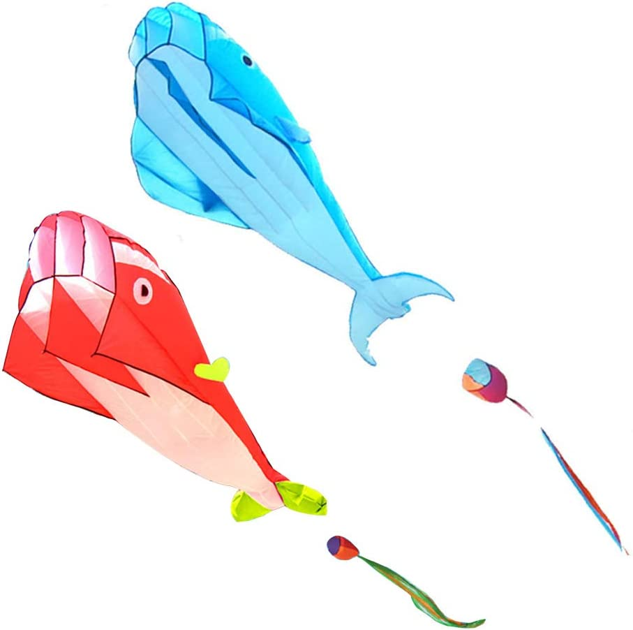 Outdoor Flying Toy with Long Tail Easily in Strong or Light Winds Kids Kites Easy Flyer ewrw Kites for Kids and Adults 3D Dolphin Kites