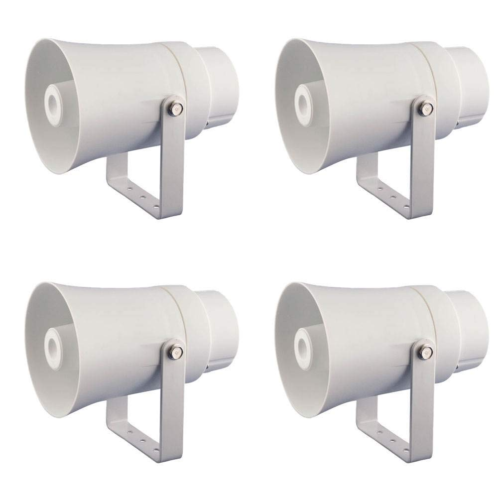 Pyle Aluminum 5.6'' Indoor Outdoor PA Horn Speaker 70 Volt 8 Ohms, White (4 Pack) by Pyle