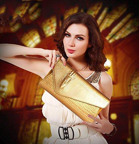 sacs mariage Dames à à de Enveloppes Sac sac bandoulière à main en élégantes soirée bandoulière la pour Gold cuir de bal fH5qS