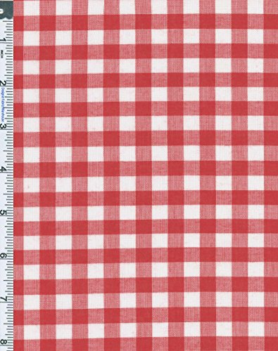 Cotton Lawn Shirting Gingham Check Fabric By the Yard, Red