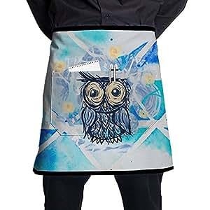 Waist Tie Half Waist Apron For Men & Women, Vinny Van Owl Waist Aprons With 2 Pockets For Waitress, Waiter, Chef, Baker, Servers