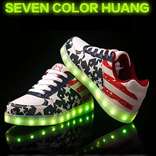 (Present:small towel)JUNGLEST 7 Colors Stars Led Shoes Light Up For Red WAPjhk
