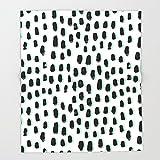 Society6 Shift pattern mint pastel black and white minimal dots painting brushstrokes modern art dorm college Throw Blankets 88'' x 104'' Blanket