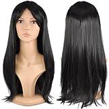Gleader Parrucca lunga liscia nera da donna Costume cosplay feste