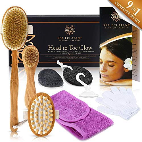 Dry Brushing Body Brush Skin Exfoliating 9Pc Spa Set with Face Brush, Exfoliator Gloves, Cellulite Massager, Lava Pumice Stone, Konjac Sponge, Headband - Get Glowing, Healthy, Revitalized Skin!
